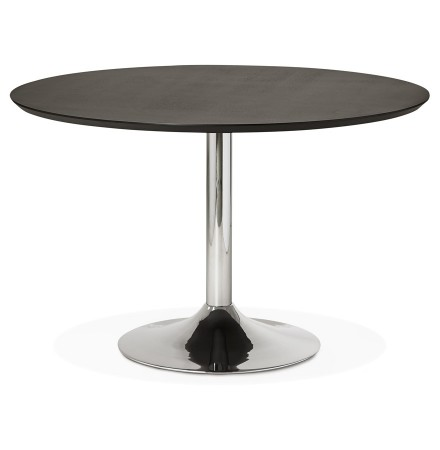 Table à diner/de bureau ronde 'KITCHEN' en bois noir finition Frêne - Ø 120 cm