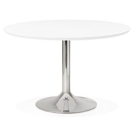 Table à diner/de bureau ronde 'KITCHEN' en bois blanc - Ø 120 cm