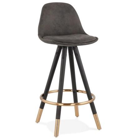 Tabouret snack mi-hauteur design 'KONG MINI' en microfibre grise et pieds en bois noir