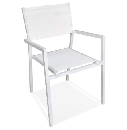 Chaise de jardin empilable 'KOS' en aluminium et matière synthétique blanche