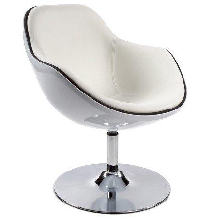 Fauteuil design 'KOK' pivotant blanc style retro