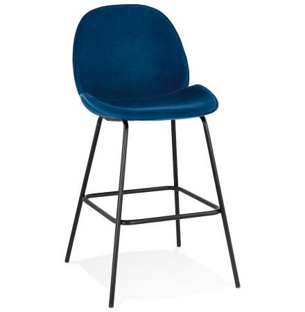 Tabouretde bar design 'LAMY' en velours bleu