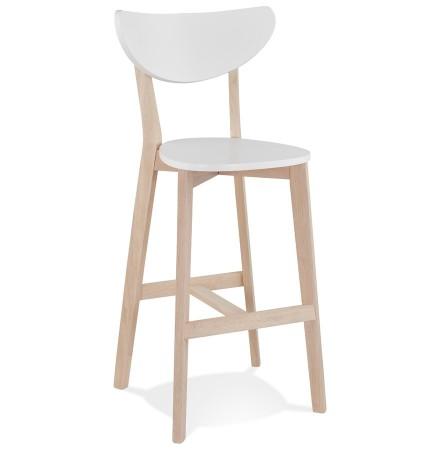 Tabouret de bar 'LEONARDO' blanc avec structure en bois finition naturelle - Commande par 2 pièces / Prix pour 1 pièce