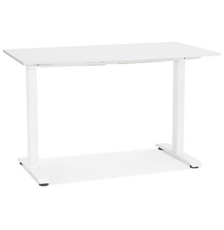 Petit bureau assis/debout 'LIVELLO' en bois et métal blanc - 120x60 cm