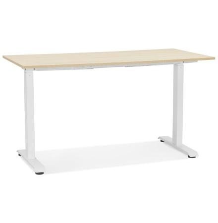 Bureau droit assis/debout 'LIVELLO' en bois finition naturelle et métal blanc - 140x70 cm