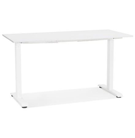 Bureau droit assis/debout 'LIVELLO' en bois et métal blanc - 140x70 cm