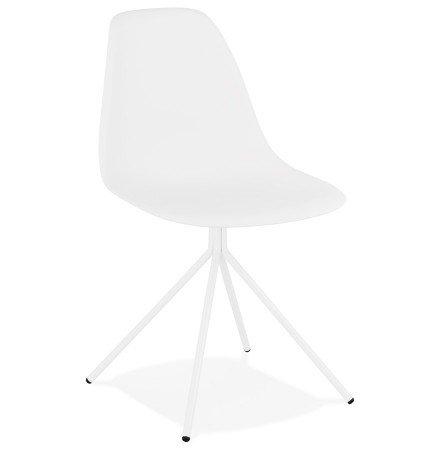 Chaise moderne 'LORY' blanche avec pied en métal