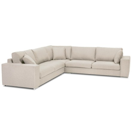 Grand canapé d'angle design 'LUCA CORNER' en tissu beige