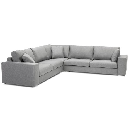 Grand canapé d'angle design 'LUCA CORNER' en tissu gris