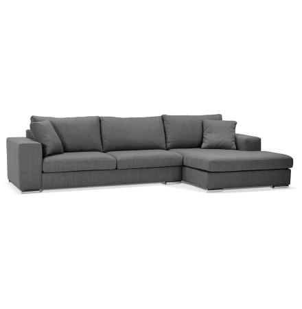 Canapé d'angle moderne 'LUCA L SHAPE' en tissu gris foncé (angle à droite)
