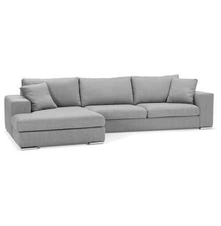 Canapé d'angle moderne 'LUCA L SHAPE' en tissu gris clair (angle à gauche)