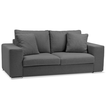 Canapé droit moderne 'LUCA MEDIUM' en tissu gris foncé - Canapé 2 places