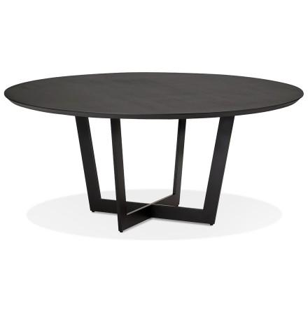 Table de salle à manger ronde 'LULU' en bois et métal noir - Ø140 cm