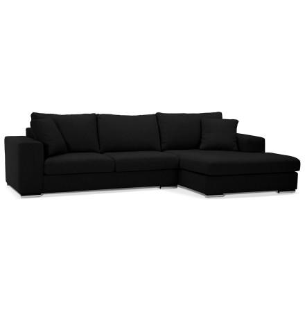 Canapé d'angle 'LUCA L SHAPE MEDIUM' en tissu noir (angle à droite)