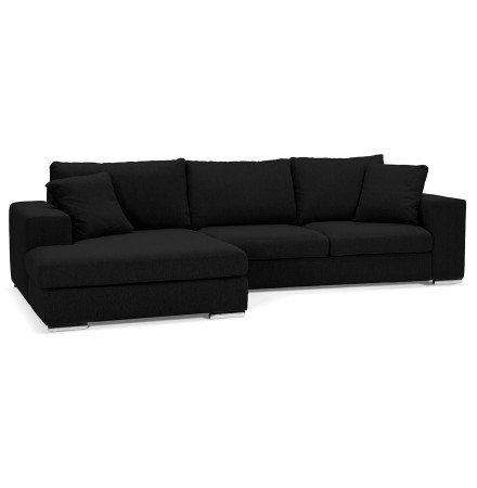 Canapé d'angle 'LUCA L SHAPE MEDIUM' en tissu noir (angle à gauche)