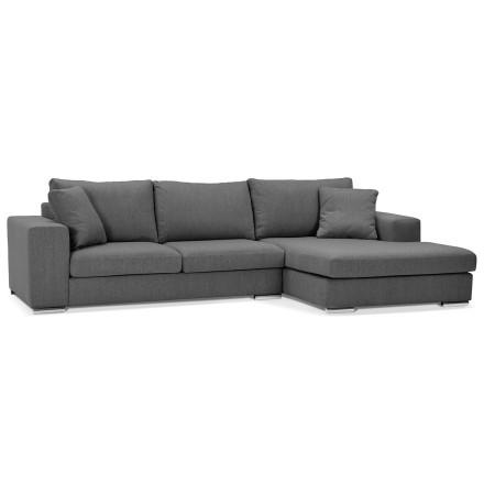 Canapé d'angle 'LUCA L SHAPE MEDIUM' en tissu gris foncé (angle à droite)