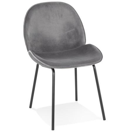 Chaise vintage 'MAGALY' en velours gris foncé et pieds en métal noir