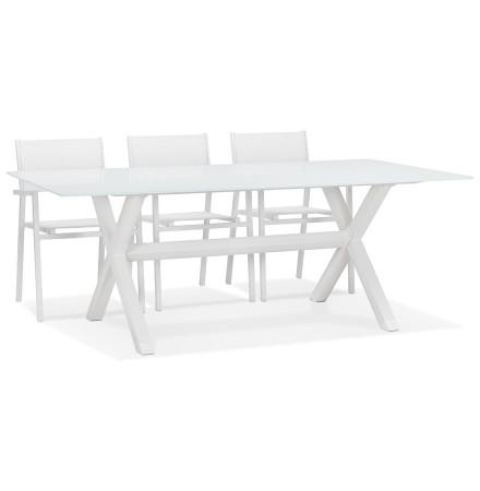 Table de jardin en verre 'MALAGA' blanche avec pied en X