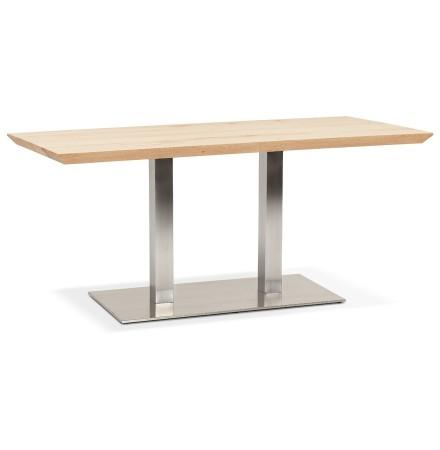 Table 'MALIBU' en bois massif avec pied en acier brossé - 160x80 cm