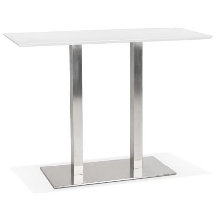 Table haute design 'MAMBO BAR' blanche avec pied en métal brossé - 150x70 cm
