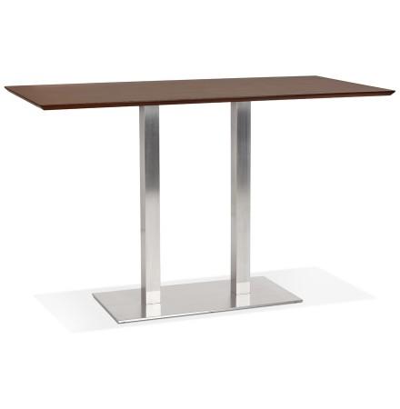 Table haute design 'MAMBO BAR' en bois finition Noyer avec pied en métal brossé - 180x90 cm