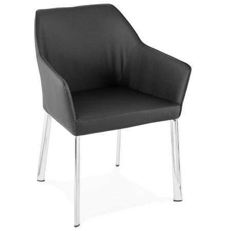 Chaise avec accoudoirs moderne MANATAN noire - Alterego