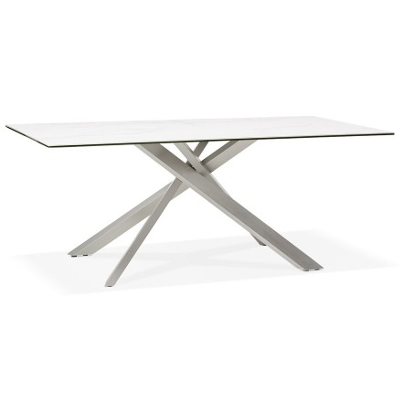 Table à diner 'MARKINA' en céramique blanche avec pied central en métal - 180x90 cm