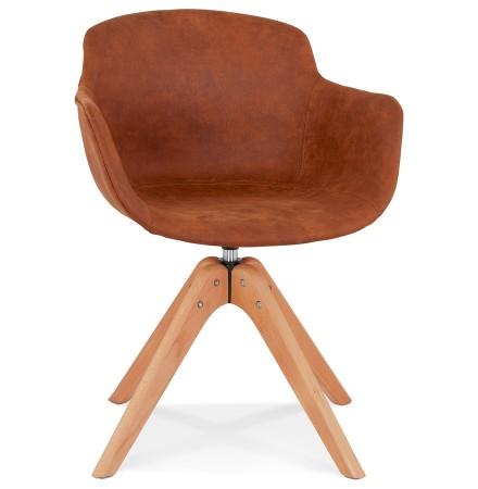Chaise avec accoudoirs 'MARTIN' en microfibre brune et pieds en bois naturel