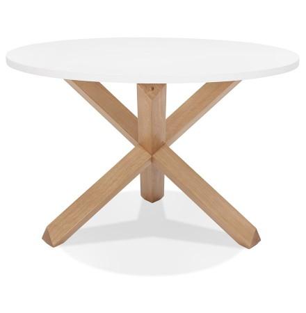 Table ronde design 'MARVEL' blanche et chêne massif