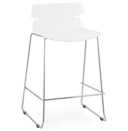 Tabouret snack mi-hauteur 'MARY MINI' blanc empilable moderne