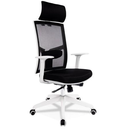 Fauteuil de bureau design 'MATILDA' en tissu noir et structure blanche