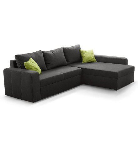 Canapé d'angle design MALIKA en tissu gris - Alterego