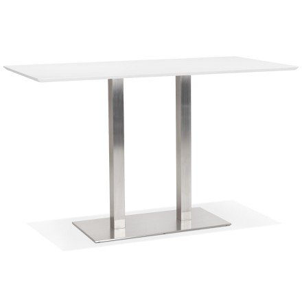 Table haute design 'MAMBO BAR' blanche avec pied en métal brossé - 180x90 cm