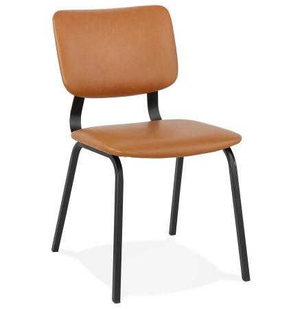 Chaise vintage 'MELODY' brune avec structure en métal noir