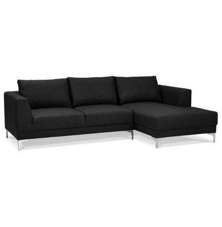 Canapé d'angle design MELTING noir avec méridienne à droite - Alterego