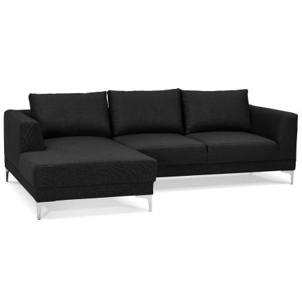 Canapé d'angle design 'MELTING' noir avec méridienne (angle à gauche)