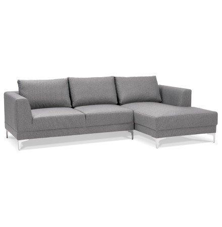 Canapé d'angle design MELTING gris clair avec méridienne à droite - Alterego