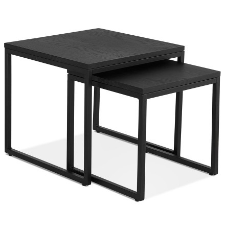 Set de 2 tables gigognes emboîtables style industriel 'MOMA' en bois et métal noir