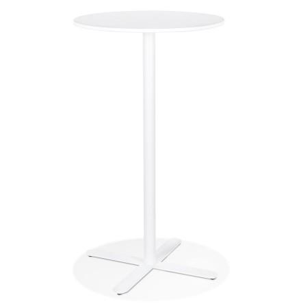 Table haute ronde 'MORTI' blanche en métal - Ø 60 cm