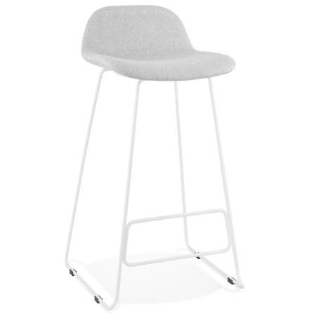 Tabouret de bar design 'MOSKOW' gris clair avec pieds en métal blanc
