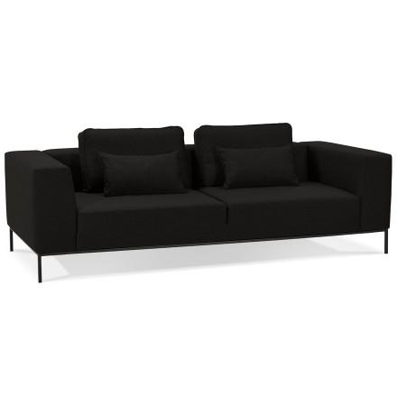 Canapé 3 places 'NANY' en tissu noir - canapé droit moderne