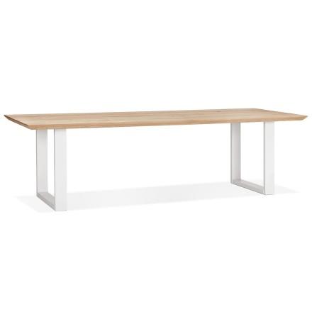 Grande table à manger 'NATURA' en chêne massif avec pieds en métal blanc - 260x100 cm