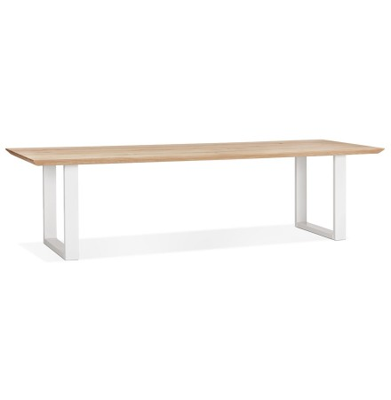 Grande table à manger 'NATURA' en chêne massif et métal blanc - 300x100 cm