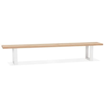 Grand banc design 'NATURA BENCH' en bois massif et métal blanc - 260 cm