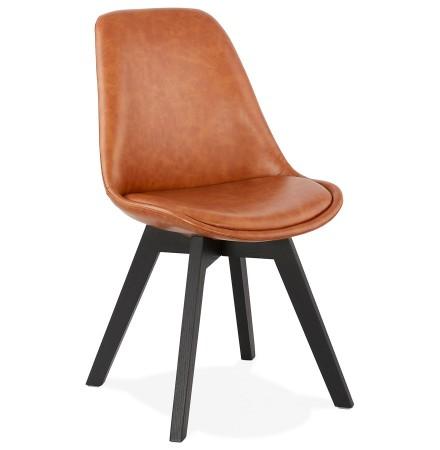 Chaise design 'NIAGARA' brune avec pieds en bois noir