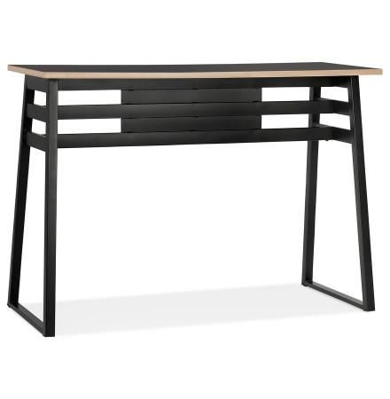 Table de bar haute 'NIKI' bois et métal noir - 150x60 cm