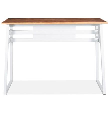 Table de bar haute 'NIKI' en bois massif et pied en métal blanc - 150x60 cm