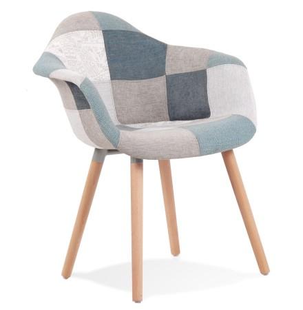 Chaise design avec accoudoirs 'NINA' style patchwork
