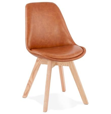 Chaise design 'NIAGARA' brune avec pieds en bois finition naturelle