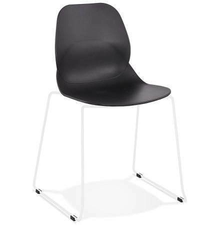 Chaise design 'NUMERIK' noire avec pieds en métal blanc